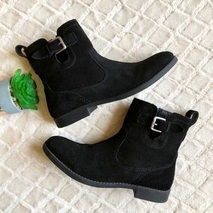 ZARA GIRLS Black Suede Ankle Boots